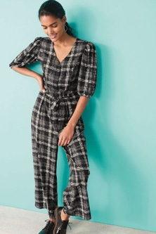 Next Check Puff Sleeve Belted Jumpsuit-Regular