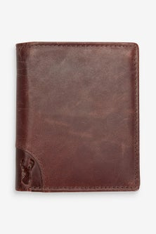 Next Leather Bifold Wallet With Embossed Stag