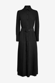 Next Pleat Midi Shirt Dress-Regular