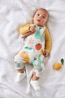 Next Organic Fruit Dungarees And Bodysuit Set (0mths-3yrs)
