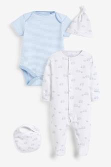 Next GOTS Organic Elephant Sleepsuit, Short Sleeve Bodysuit, Bib And Hat