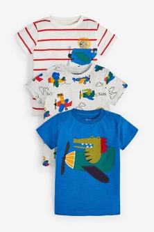Next 3 Pack Rainbow Crocodile Short Sleeve T-Shirts (3mths-7yrs)