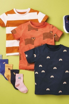 Next 3 Pack Printed and Stripe T-Shirts (3mths-7yrs)