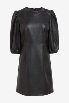 Next Faux Leather Volume Sleeve Dress