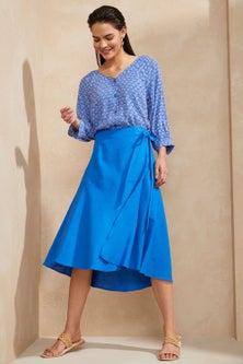 Emerge Linen Blend Mock Wrap Skirt