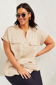 Sara Button Short Sleeve Shirt
