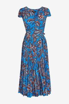 Next Pleated Wrap Midi Dress