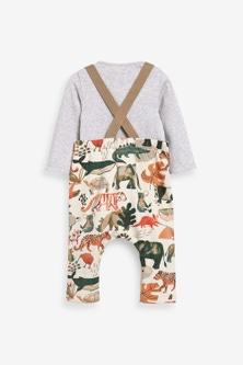 Next Organic Animal Jersey Dungarees And Bodysuit Set (0mths-3yrs)
