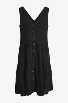 Next Tiered Viscose/Linen Look Mini Dress