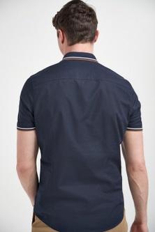 Next Knitted Collar Short Sleeve Shirt-Slim Fit