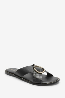 Next Forever Comfore Cross Over Mule Sandals-Wide Fit