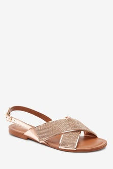 Next Two Band Bling Sandals-Wide Fit