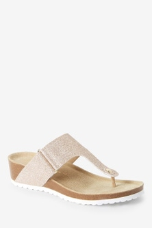Next Forever Comfore Toe Post Footbed Wedge Sandals