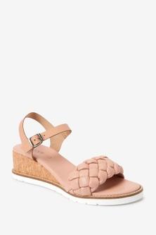 Next Plaited Low Wedge Sandals