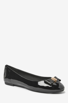 Next Hardware Bow Ballerina Shoes-Wide Fit