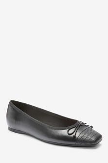 Next Leather Square Toe Ballerinas-Wide Fit
