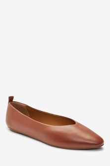 Next Signature Forever Comfort Leather Ballerina Shoes-Wide Fit