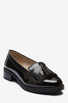 Next Extra Wide Fit Cleated Fringe Loafers