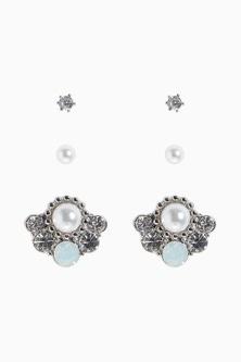 Next Pearl Effect Stud Earrings Three Pack