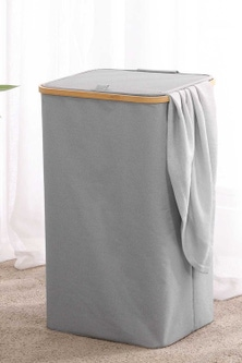 Sherwood Home Round Linen and Bamboo Laundry Hamper With Cover