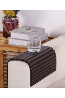 Sherwood Home Flexible Bamboo Sofa Armrest Tray With Non-Slip Base