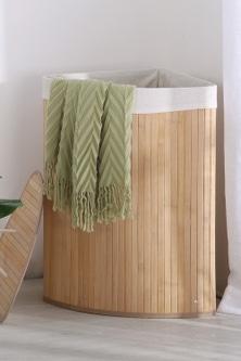 Sherwood Home Foldable Bamboo Corner Laundry Hamper