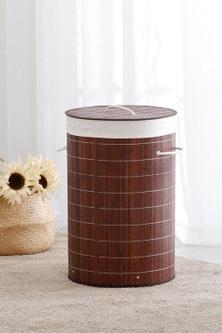 Sherwood Home Round Folding Bamboo Laundry Basket Hamper
