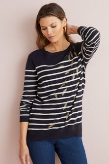W.Lane Peacock Feather Stripe Pullover