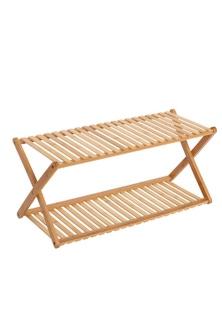 Sherwood Home 2-Tier Portable Natural Bamboo Shoe Rack