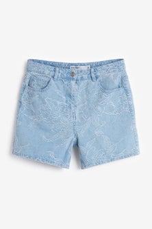 Next Floral Jacquard Denim Shorts