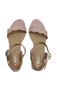 Human Premium Mantal Leather Block Heel Scalloped Strap Sandal