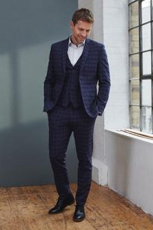 Next Signature Motionflex Check Suit: Trousers-Slim Fit