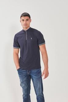 Next Zip Funnel Neck Polo Shirt