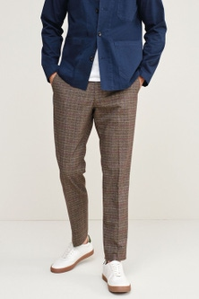 Next Trimmed Check Heritage Trousers-Slim Tapered