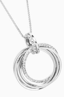 Next Pave Circle Pendant Midi Necklace