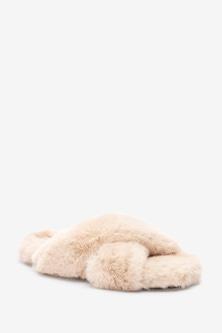 Next Crossover Cork Faux Fur Slider Slippers