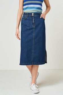 Next Elasticated Waist Denim Skirt-Tall