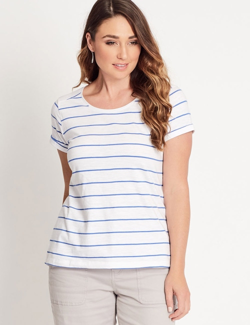 428f798c22165 Katies 100% Cotton Slub Stripe Basic Tee