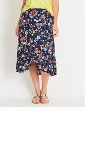 Katies Print Midi Wrap Skirt