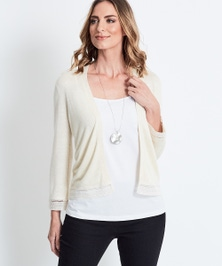Katies 3/4 Crochet Trim Cover Up
