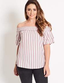 Katies Off Shoulder Top With Shirring