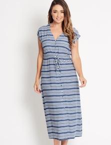 Katies Button Through Maxi Dress