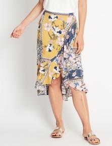 Katies Wrap Ruffle Midi Skirt