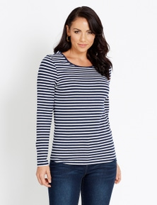 Katies Long Sleeve Cotton Elastane Basic Tee