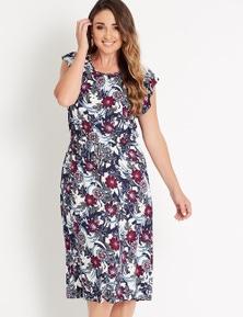 Katies Short Sleeve Crew Neck Midi Dress