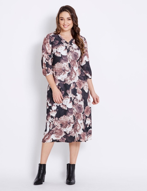 5cea471968e97 Katies 3/4 Slv V-Neck Tie Front Dress