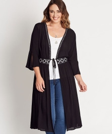 Katies Lace Trim Cheesecloth Kimono
