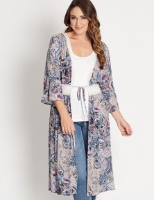 Katies Print Lace Trim Cheesecloth Kimono Cover Up