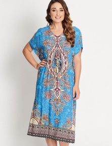 Katies Kaftan Tie Waist Maxi Dress