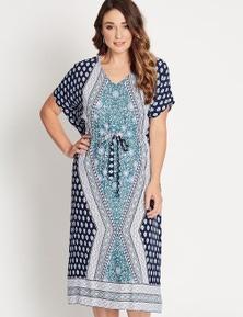 Katies Kaftan Tie Waist Maxi Dress